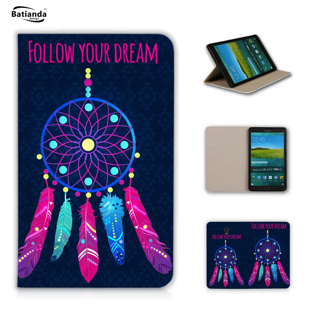 Batianda Luxury Painting Dream Catcher PU Leather Case for Samsung GALAXY Tab S 8.4 SM T700 T705 T705C Flip Stand Tablet Case