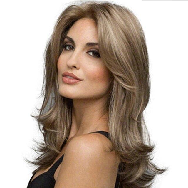 1 pieza de Peluca de señora de ceniza de encaje Rubio pelucas delanteras de alta densidad resistente al calor pelo sintético ondulado pelucas completas para mujeres (marrón ceniza) como se muestra