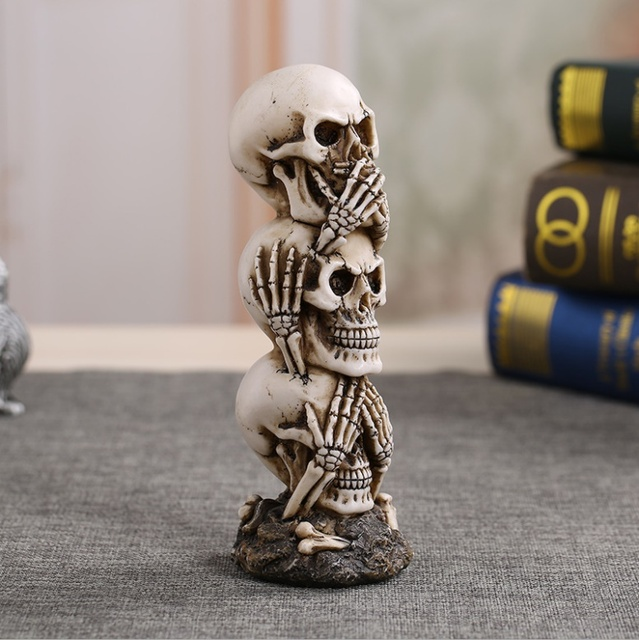 Free Shipping Resin Craft Human Skull Statue High Quality Creative Statue Sculpture Gift Home Decoration Human Skull 3