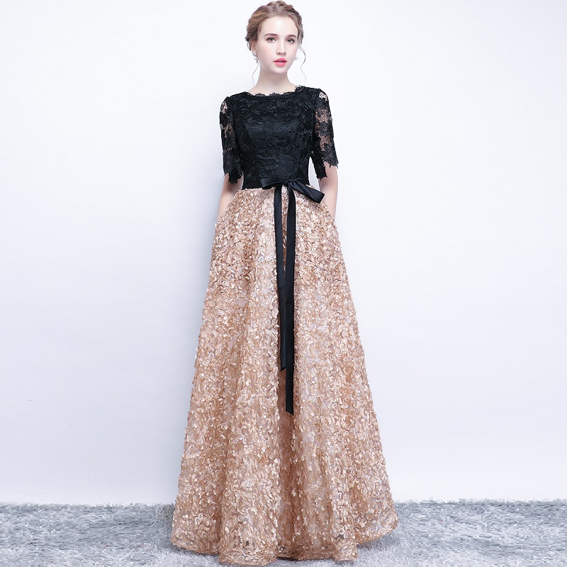 SOCCI Víkend Elegantní matka nevěsty šaty 2018 Černé krajky - Šaty pro svatební hostiny - Fotografie 3