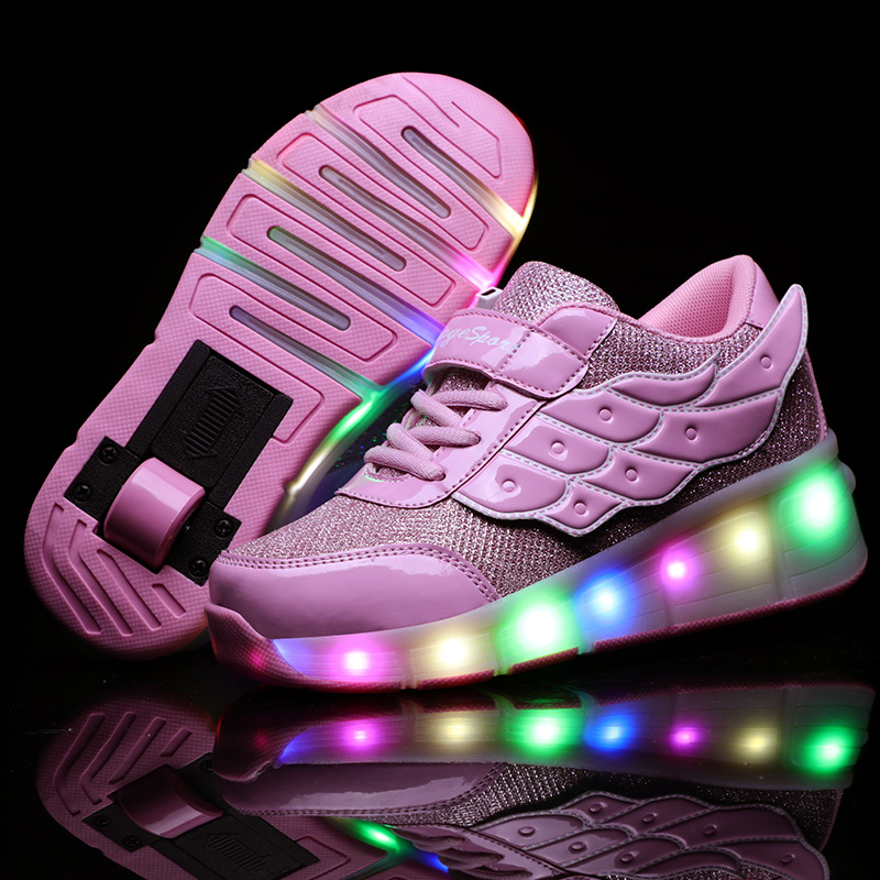 USB Charging Girls Boys LED Roller Skate Shoes Kids Sneakers With One Wheels