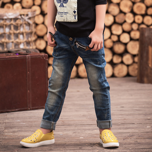 Boys warm jeans 2016 autumn and winter new Korean children' s clothing large children 's velvet trousers kids jeans