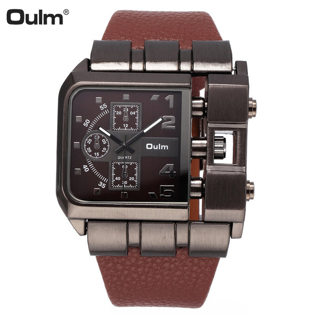 Oulm часы мужские Лидирующий бренд двойной раз шоу кварцевые повседневные часы, кожа группа Мужские часы Relogios Masculinos