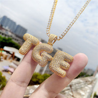 Lucky Sonny Factory Price DIY A Z Drip Bubble Crown Letters Necklace Alphabet CZ Iced Out Initials Customized Letter Jewelry