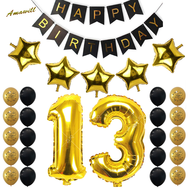 Amawill 13th Birthday Party Decoration Kit Gold Number Balloons Balloon Years Old