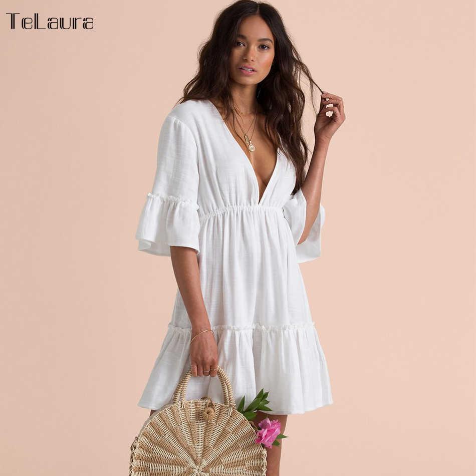 2019 Baru Pantai Seksi Menutupi Baju Renang Putih V Leher Gaun Pantai Wanita Bikini Pakaian Renang Baju Renang Musim Panas Pantai tunik