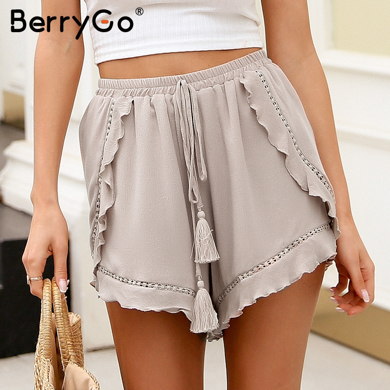 BerryGo Spring tassel ruffles mini   shorts   women Boho floral print   shorts   skirts Summer elastic waist lace   shorts   female 2018 new