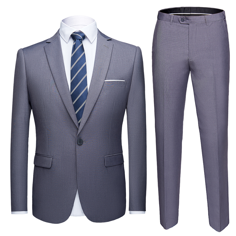 Formal Blazer Tuxedo Mens Suits 2piece-Suit-Set Slim-Fit Marriage Wedding Grey Pants