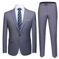 2019 Asian Size Mens Suits Set Grey Formal Blazer pants Marriage Tuxedo male 2 Piece suit set Terno wedding mens suit slim fit