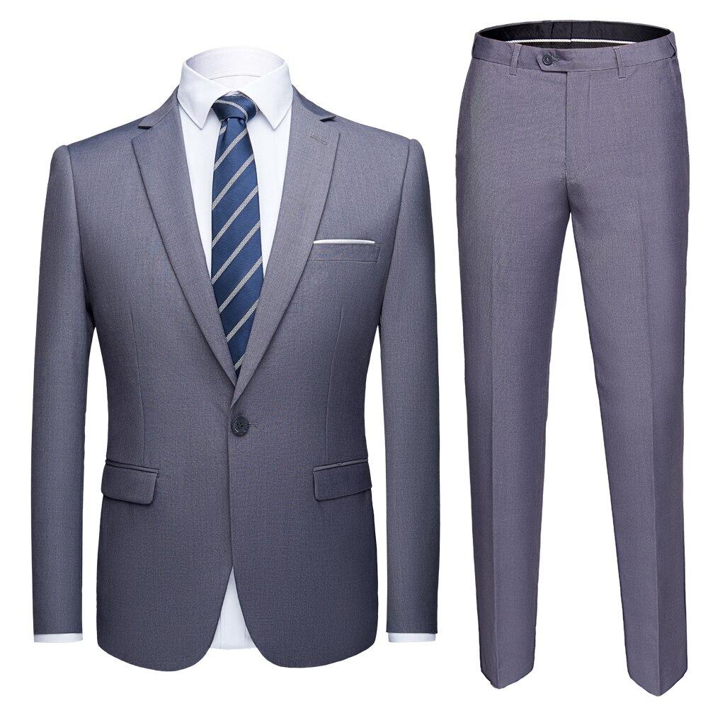 2019 Tamanho Asiático Mens Ternos Set Cinza calças 2 Casamento Do Smoking masculino terno conjunto Formal Blazer Terno do casamento dos homens terno slim fit