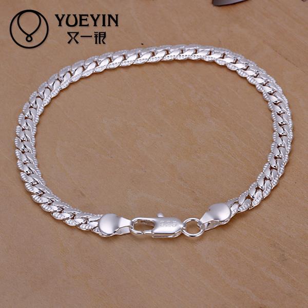86d3db13ba696 Charm Bracelets Link Chain silver plated bracelet for women men unisex  jewelry hand chain H199 Vintage