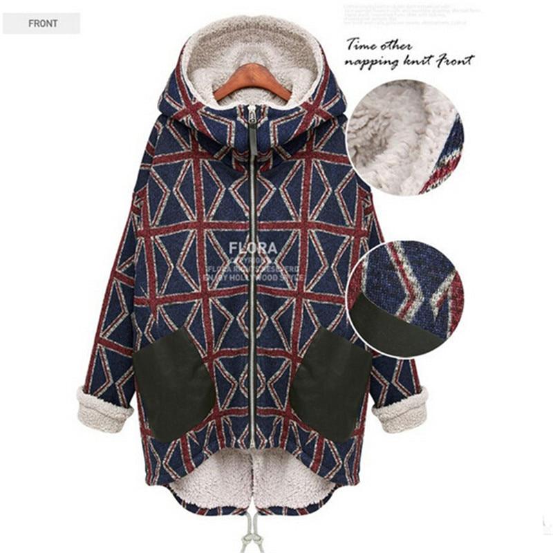 New Winter Thick Women Coat Long Section Winter Coat Fashion Printing Big Size Plus Velvet Warm Coat Jacket Jaquetas C1465