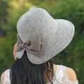 Strawhat женский летнее солнце - вс-затенение шляпа мода с бантом пляж шляпа солнца анти-уф шляпа