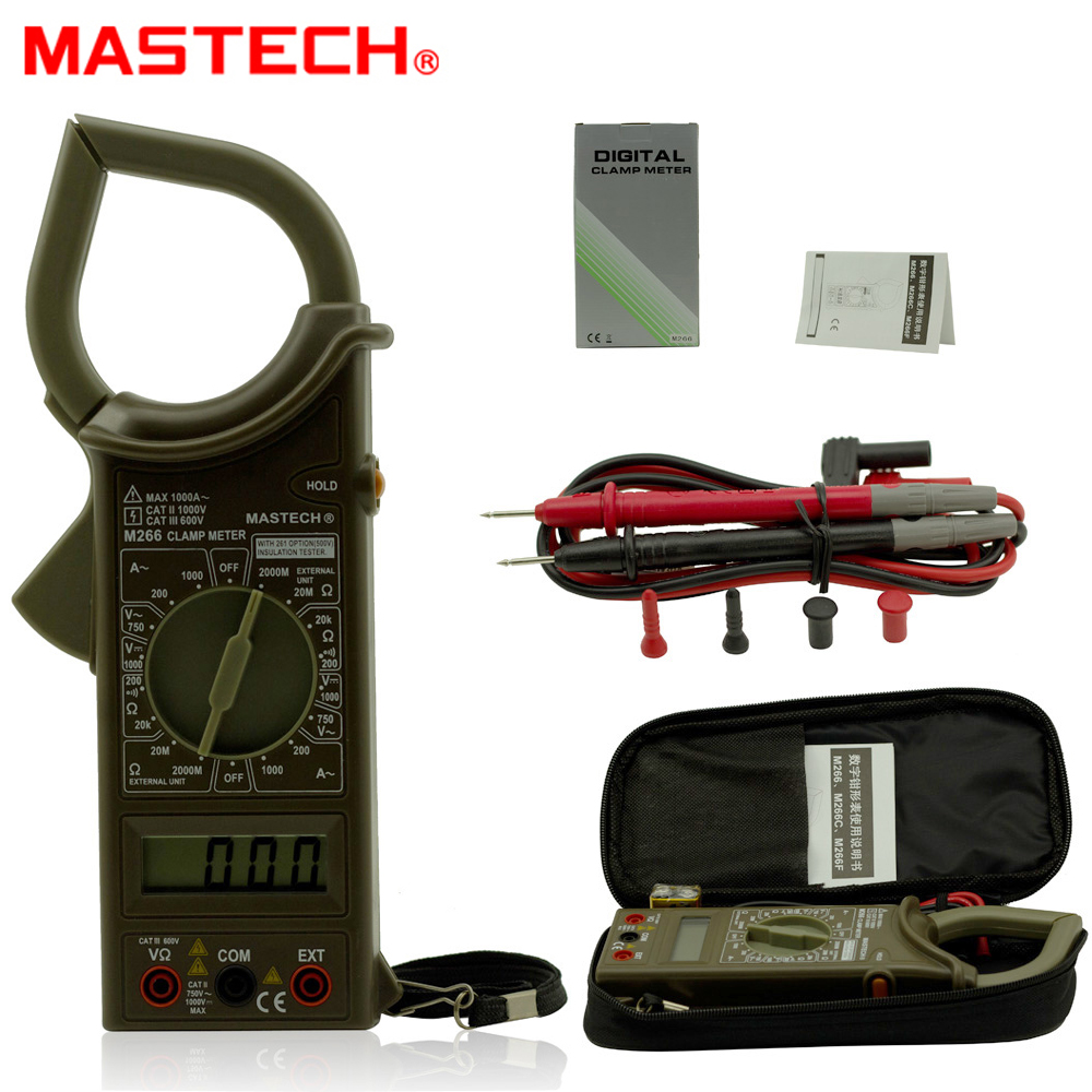 MASTECH M266 Digital AC Clamp Meter AC/DC Voltage AC1000A Current Resistance Frequency Tester with temperature measurement auto digital clamp meter mastech ms2108a pincers ac dc current voltage capacitor resistance tester aimometer multimeter amper