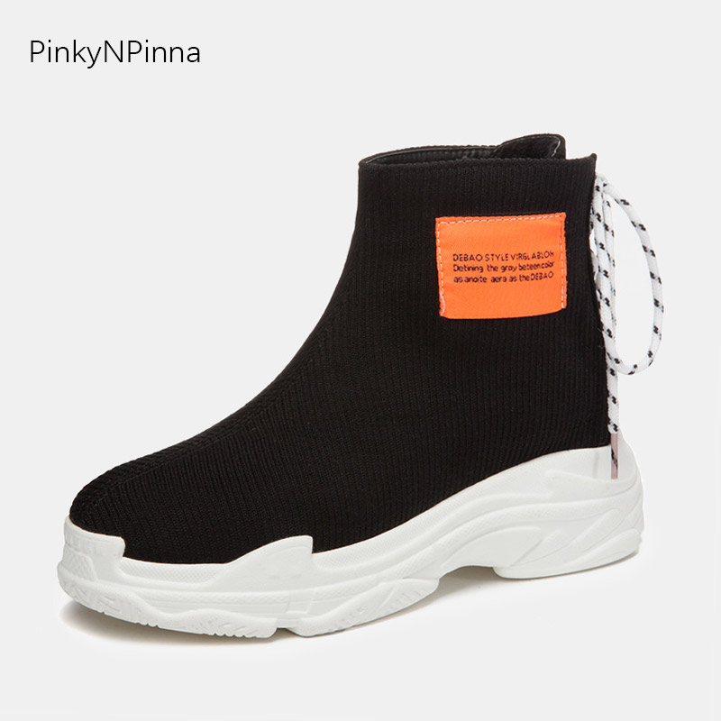 young ladies weaving ankle boots knitting breathable fashion trendy popular platform flat booties back laced up high top shoes