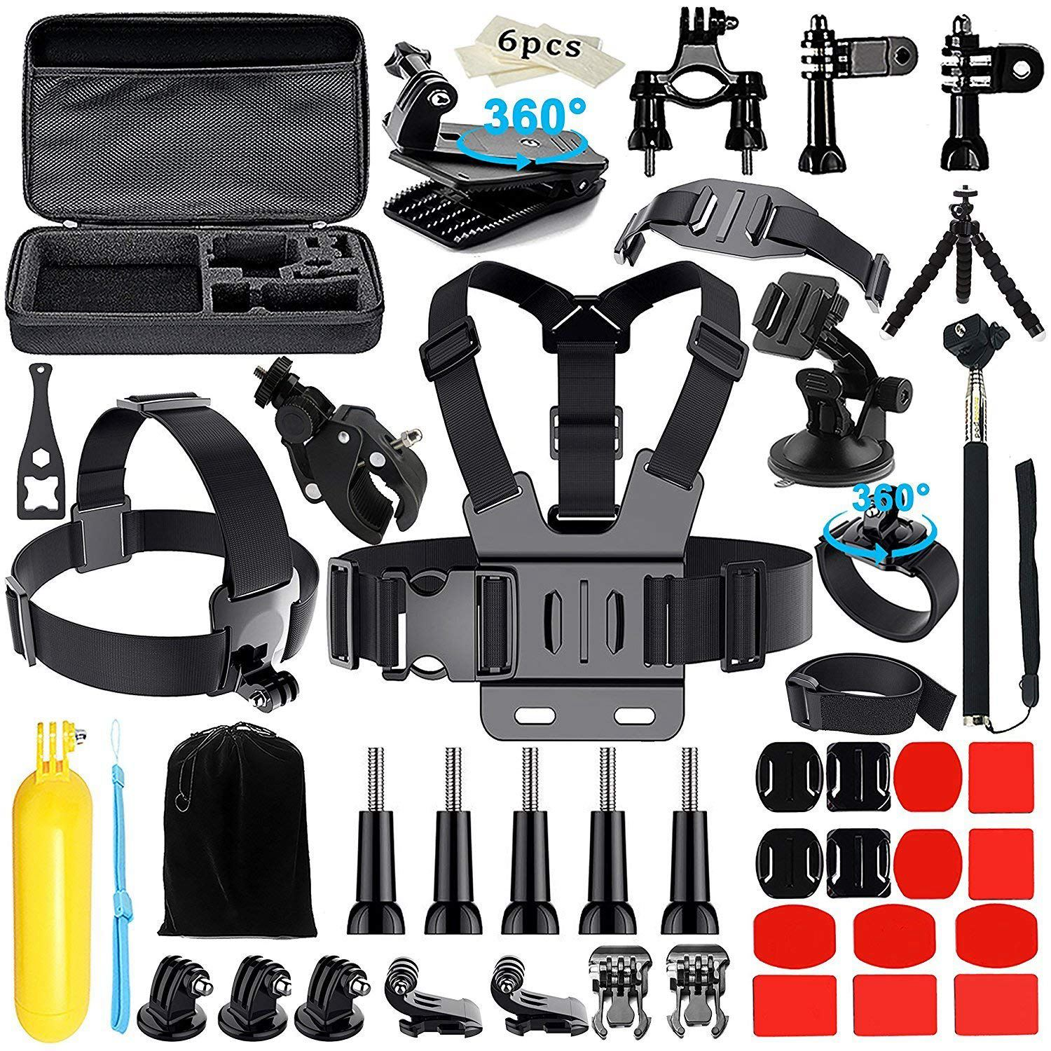 Top Deals Camera Accessories for 3GoPro Hero 2018 Session/6 5 Hero 4+ SJ4000/5000/6000/AKASO/APEMAN/DBPOWER/And S ony Sports D