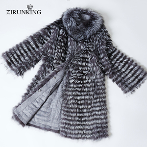Image 4 - ZIRUNKING Knitted  Real Silver Fox Fur Coats Fashion Fur Jacket Striped Style Outfit Female Fox Fur For Autumn ZCW 02YL