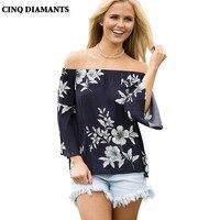 CINQ DIAMANTS Off Spalla Top Donna Estate Camicetta Del Manicotto Del Chiarore Camicia Casual Backless Stampa Floreale Top Ropa Camisas Mujer