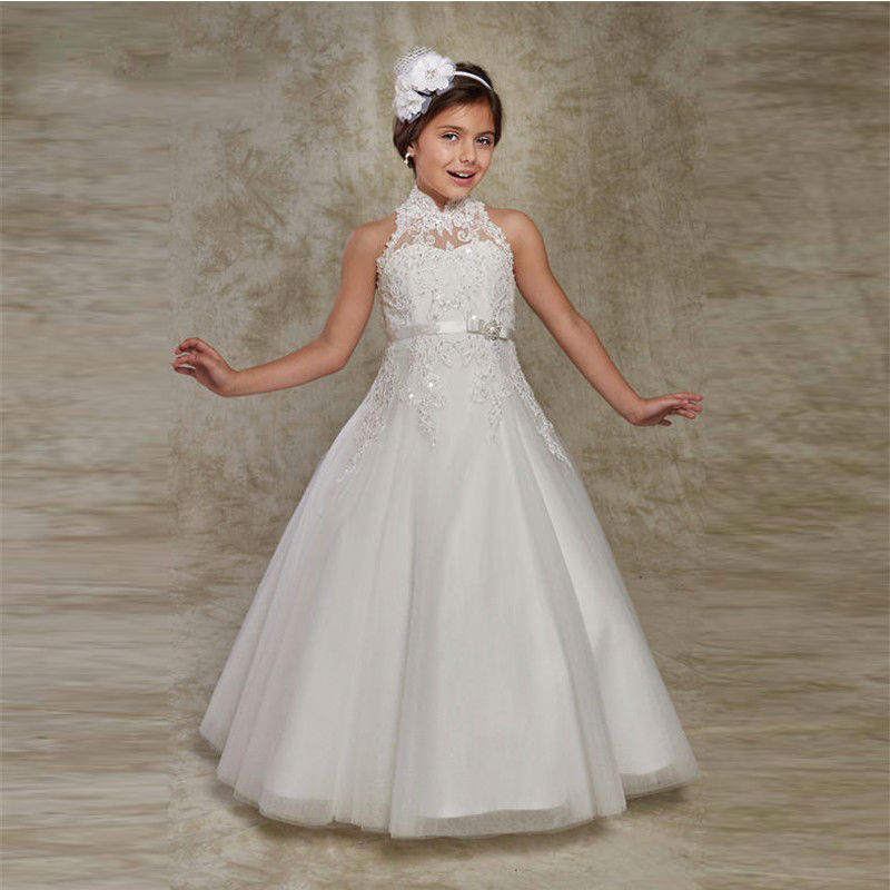 Cute 2019   Flower     Girl     Dresses   For Weddings Ball Gown High Collar Tulle Lace Beaded Long First Communion   Dresses   For Little   Girls
