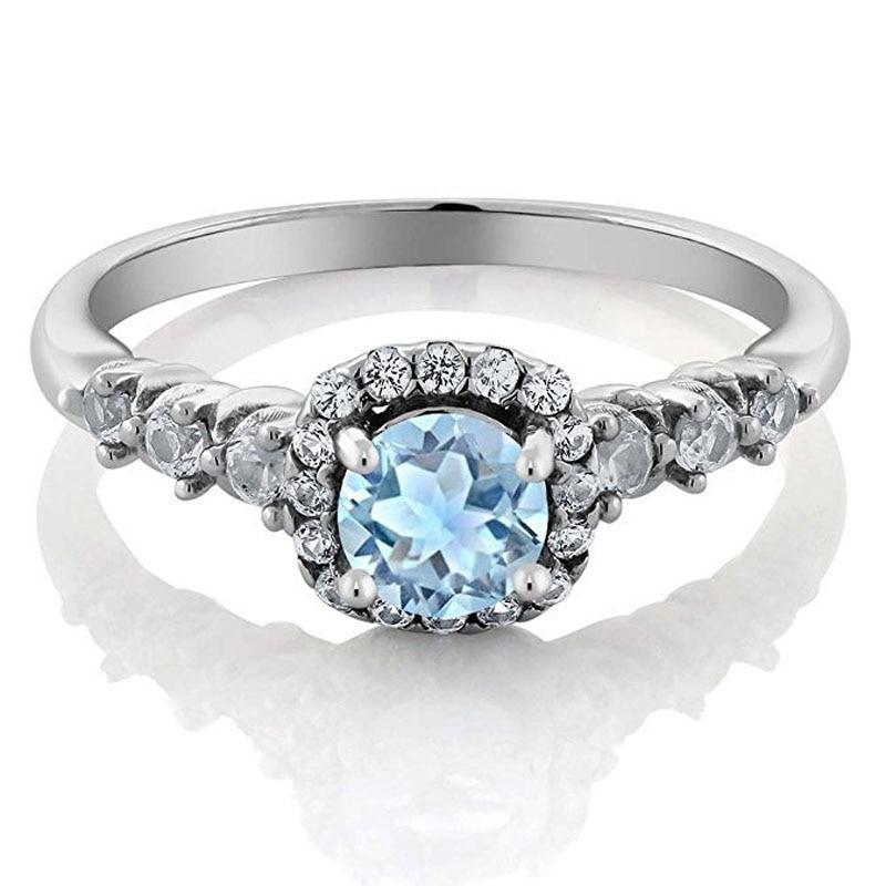 100% Waar Top Kwaliteit Prinses Kate Blue Gem Gemaakt Blue Crystal Zilver Kleur Wedding Finger Crystal Ring Merk Sieraden Voor Vrouwen Brede VariëTeiten