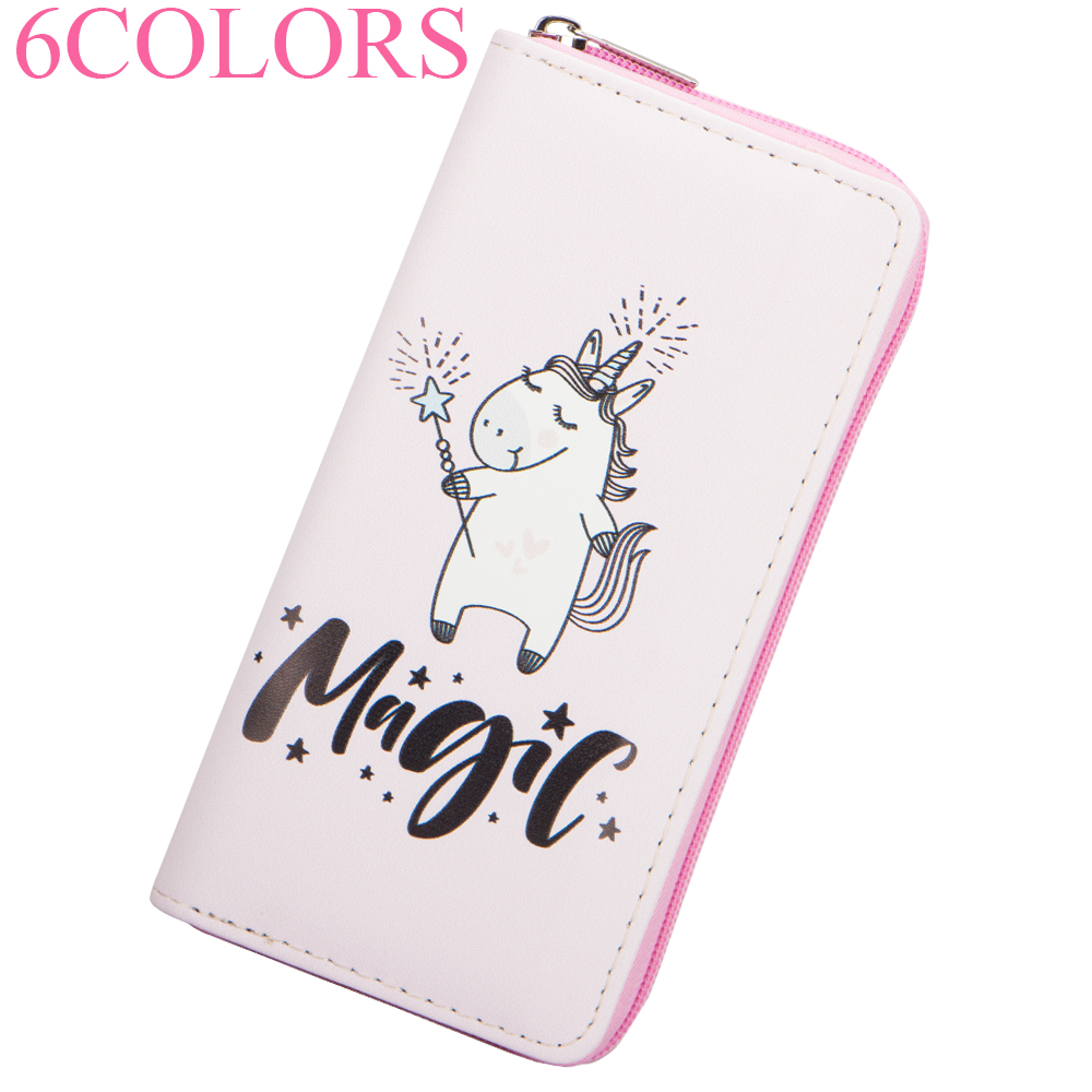 Sansarya New 2018 Magic 6 Colors Lovely Unicorn Bag Print PU Designer Pretty Women Wallet Female Purse Zipper Money Phone Bag