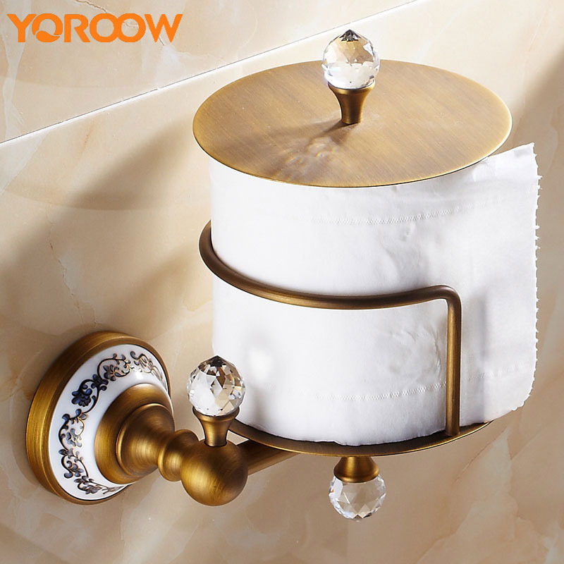 Antique Brass Wc Toilet Paper Holder Organizer Box Vintage Style Bathrooms Wall Mount Papers Kitchen Roll Towel Golden MB0004 toilet paper holder hanger brass marble wall mount set furniture silver gold antique brass rose golden 4 color gjke5005