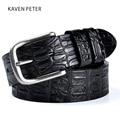 2017 Cowskin Belt Crocodile Pattern Luxury Designer Belts Men High Quality 100% Genuine Leather Ancient Silver Metal Buckle