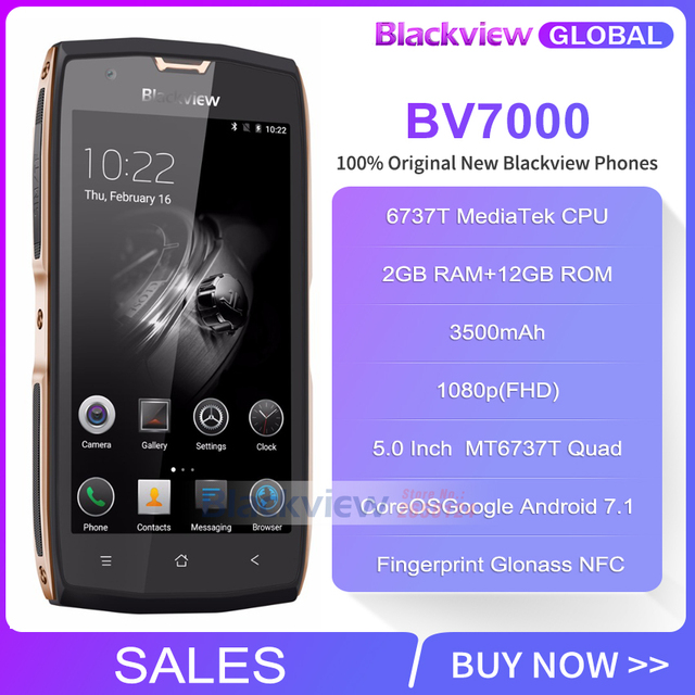Blackview BV7000 Mobile Phone MT6737T Quad Core 5.0″ FHD 2G+16G IP68 Waterproof Glonass NFC Dustproof 4G Fingerprint Smartphone