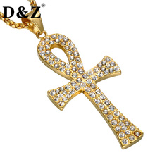D&Z Ice Out Bling Gold Color Ankh Cross Pendant Necklace Stainless Steel Crux Ansata Cross Necklace for Egyptian Egypt Jewelry