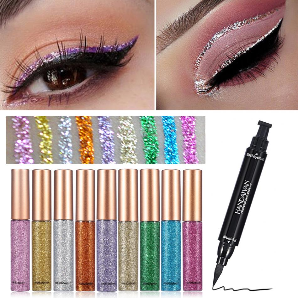Beauty Essentials Handaiyan Glitter Eyeliner Set Liquid Eyes Liner With Cat Eye Seal Eyeliner Stamp Waterproof Makeup Maquiagem Shiny Cosmetics