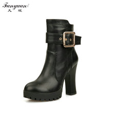 Hot 2016 Autumn/Winter Women's Cool Motorcycle Boots Side Buckle Zip Soft Leather Boots Ladies' Sexy Round Toe  Ankle Boots