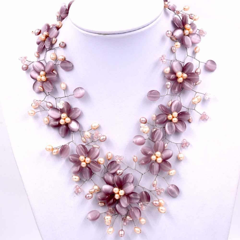 Natural freshwater pearl and purple cat's eye stone flower chokers necklace
