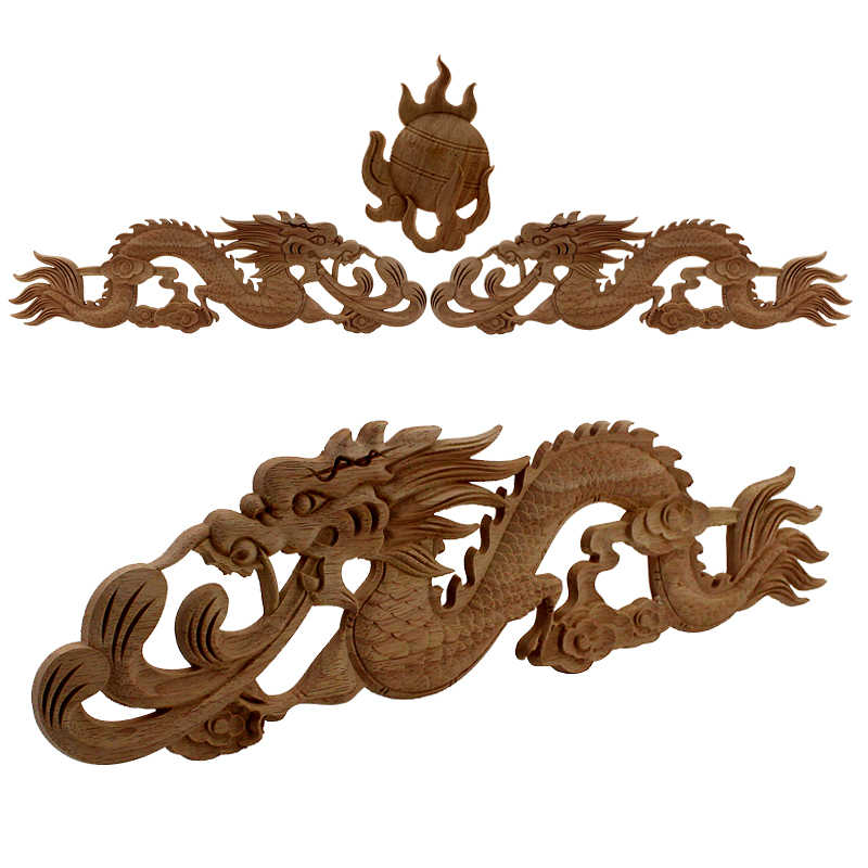 Chinese Dragon Vintage Unpainted Wood Carvedl Corner Applique Frame for Home Wall Cabinet Door Decorative Wooden Miniature Craft
