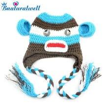 f96b836f723 Bnaturalwell Lovely Animal Designs Crochet Baby Hat Beanie Photo Props Knitted  Monkey hat Children cotton cap