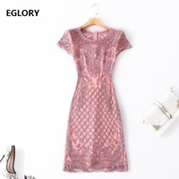 Appliques Embroidery Lace Dress 2018 Plus Size Party Brides Mother Sheath Pencil Dress Women Pink Blue Vintage European Dress