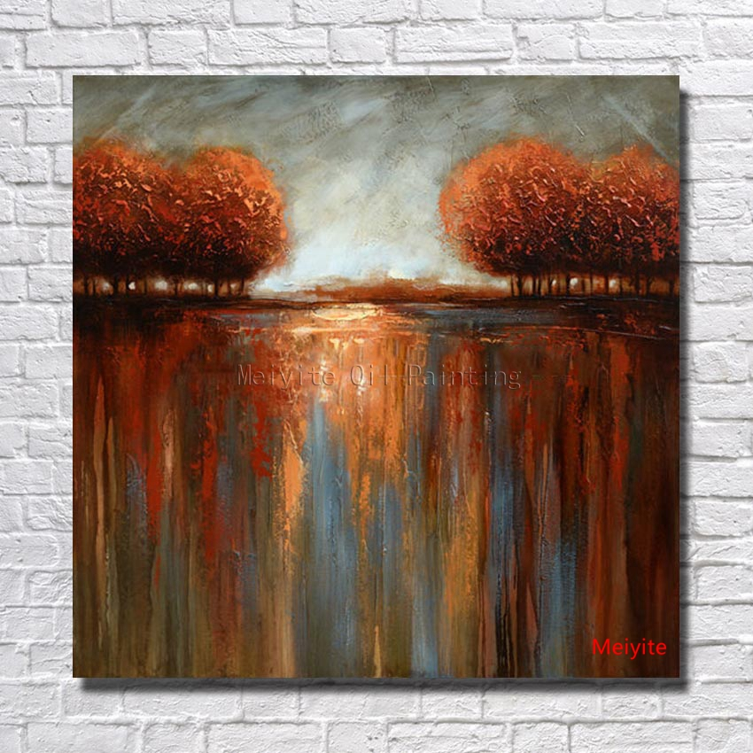 No Marcos pintado a mano paisaje imagen pintura al óleo sobre lienzo ...