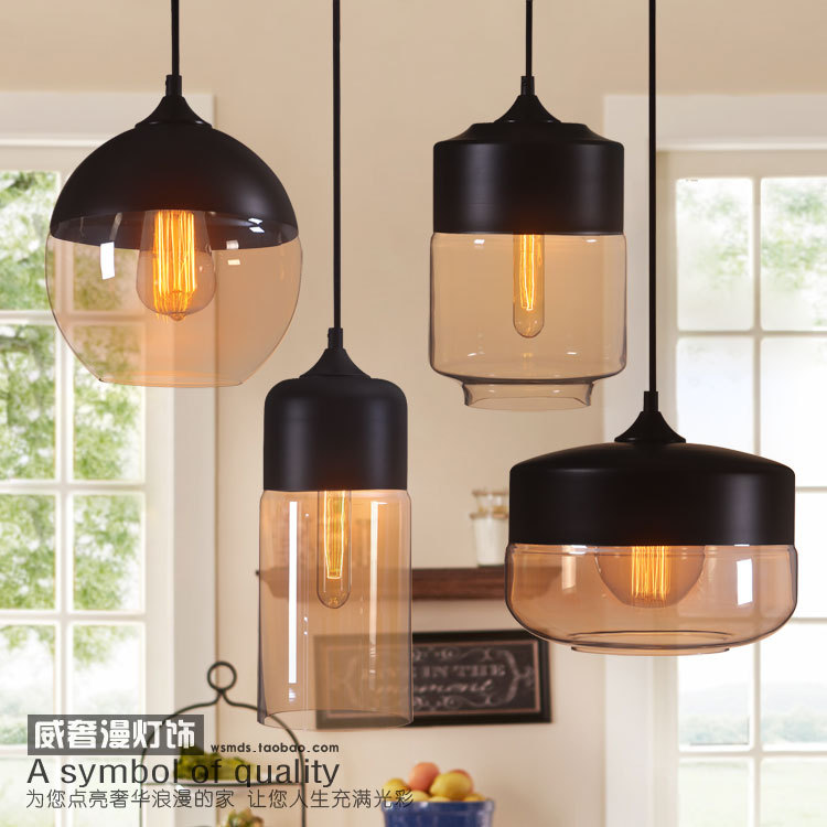 1 Piece Hot Modern Half Paint Glass Ball Pendant Light ...