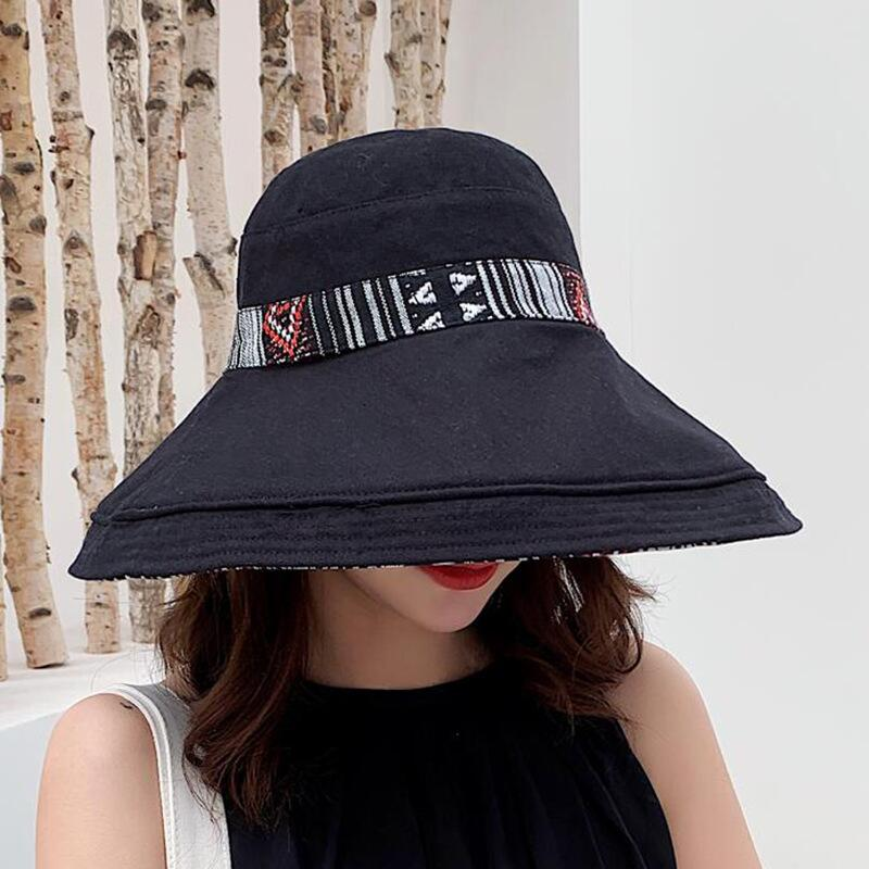 HTB1bdFMJrrpK1RjSZTEq6AWAVXad - Double sided irregular Pattern Bucket Hat Women Summer Cotton Breathable Leisure Bob Caps Outdoor Sports Casual Dome Panama Cap