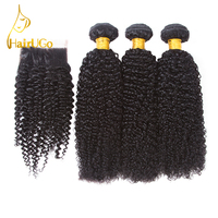 HairUGo Hair Pre colored Brazilian Hair Kinky Curly Wave 3 Bundles 100% Human Hair With Closure #1b Nature Black Non Remy Free S