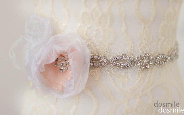 Fashion Flowers Pink Organza Ribbons Jeweled Sashes Diamond Bridal Belt Wedding Sash With Crystals Rhinestones For Wedding Dress