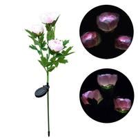 Creative 3 Head Solar LED Lamp Peony Flower Home Hotel Decoration Lawn Lamp Light For Party