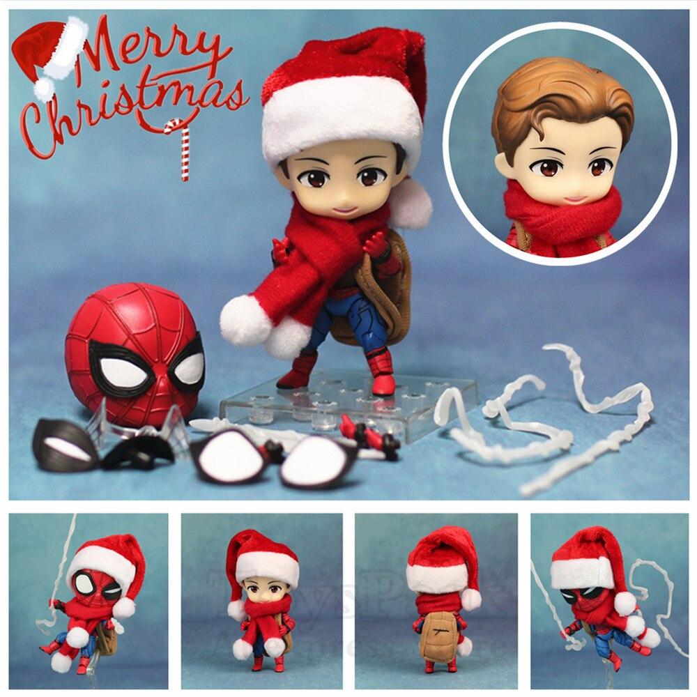 Nuevo-Marvel baile Linda araña hombre 10 cm Kawaii figura de acción Q Tom Holland vengadores Spiderman juguetes de la muñeca de KO nendoroid 781