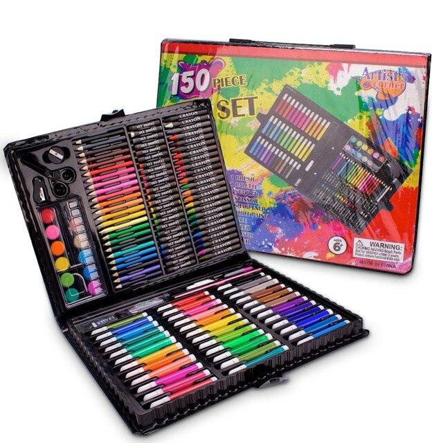 حافظة للرسم من إلهام ، وردي ستوديو فني محمول ، 150 طقم فني ومستلزمات التلوين هدية فنية للأطفال 4 & رائعة للارتيس