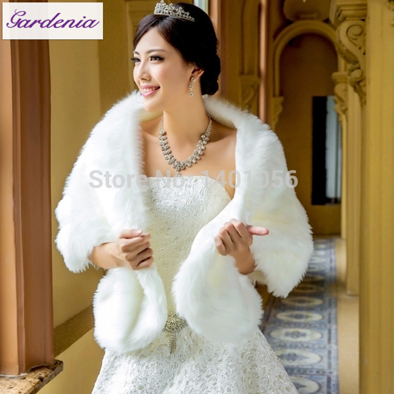 Hot sale white wedding wraps faux fur shawls winter for Winter wedding dresses for sale