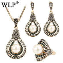 WLP Freshwater Pearls Jewelry Set 1 Tone Black Gold Color Vintage Simulated Pearl Necklace Earrings Ring Sets For Women Crystal(China)