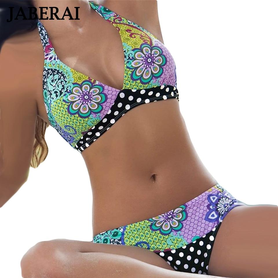 JABERAI Hang Neck Halter Brazilian Bikini 2019 Arrival Women Sexy Floral Print Swimwear Lady Push Up Swimsuit Strappy Beachwear in Bikinis Set from Sports Entertainment