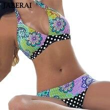 2016 New Hang Neck Halter Brazilian Bikini Set Women Sexy Floral Print Swimwear Lady Push Up Swimsuit Strappy Beach Wear 2 alluring floral halter neck bikini set for women