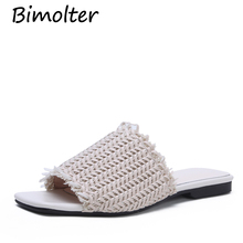 купить Bimolter Designer Slippers Women Flats Mules Shoes Women Fashion Hollow Slides Ladies Brand Mules Female Luxury Slippers FC005 по цене 4598.61 рублей