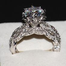 Victoria Wieck joyería de lujo Diamonique 925 bodas de plata Topaz CZ Diamond mujeres nupcial set mujeres anillo con la caja de regalo