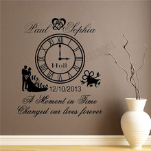 Vinyl Art Removeable Wall Decoration Wedding Clock Anniversary Keep Poster Beauty Fashion Ornament Removeable LY927 цена